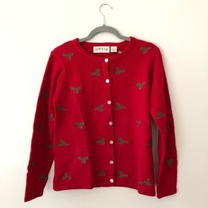 Orvis Wool Christmas Holly sweater cardigan red S
